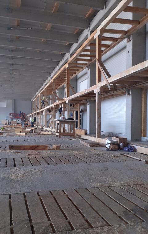 Realizare infrastructură lemn depozit cartofi